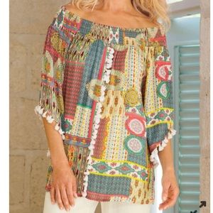 3/$25 Soft Surroundings Playful Patchwork Colorful Top S